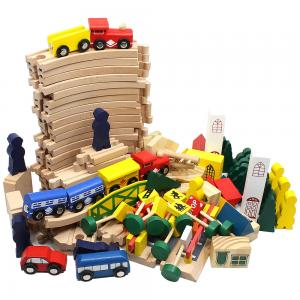 Žaislinė traukinių sutotis su bėgiais (100 dalių)